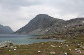 Lake on the pass of mountain. Norway.