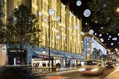 London, England - House of Fraser, Oxford Street, decorated for Christmas and New 2015 Year