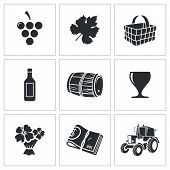 Wine Production Vector Icons Set