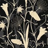 Elegant Floral Pattern On A Dark Background