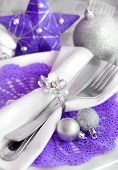 Purple And Silver Christmas Table Setting