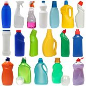 cleaning equipment .18 colored plastic bottles with Detergent isolated on white background .