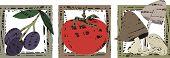 Linoleum Block Cut Italian Food Cooking olives tomato mushrooms
