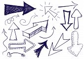 image of hand drawn  - Collection of hand drawn doodle vector arrows in different directions and styles - JPG