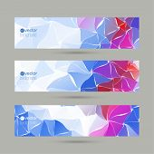 Set of vector banners with triangles and polygon mesh.