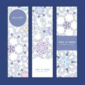 Vector ornamental abstract swirls vertical banners set pattern background