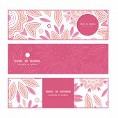 Vector pink abstract flowers horizontal banners set pattern background