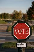 stop sign and vote sign