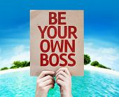 Be Your Own Boss card with beach background