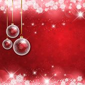 Christmas background with hanging baubles