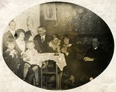 GERMANY, CIRCA 1930s- vintage photo of family in dining room