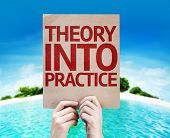 Theory Into Practice card with beach background
