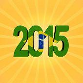 Brazilian flag 2015 text on sunburst illustration