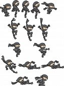 Постер, плакат: Cartoon ninja ready for animation Jumping falling throwing and sliding actions Vector clip art il