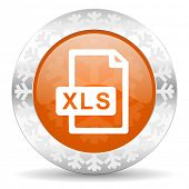 xls file orange icon, christmas button