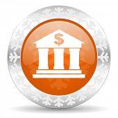bank orange icon, christmas button