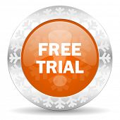 free trial orange icon, christmas button