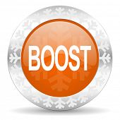 boost orange icon, christmas button