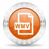 wmv file orange icon, christmas button