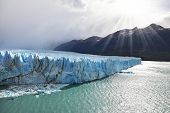 Los Glaciares National Park in Patagonia. Colossal Perito Moreno glacier in Lake Argentino. Sunny summer day