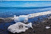 The Arctic Ocean. Floes ice shine in the sun on the beach with black sand