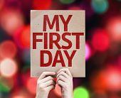 My First Day card with colorful background with defocused lights