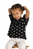 Portrait of beautiful happy little girl, isolated on white