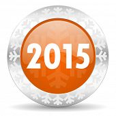 new year 2015 orange icon, christmas button, new years symbol
