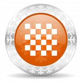 chess orange icon, christmas button