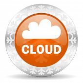 cloud orange icon, christmas button