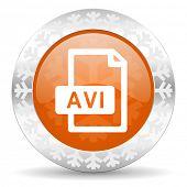 avi file orange icon, christmas button
