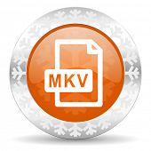 mkv file orange icon, christmas button