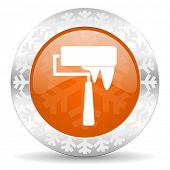 brush orange icon, christmas button, paint sign