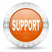 support orange icon, christmas button