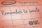 Composite image of new years resolutions on january calendar