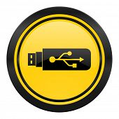 usb icon, yellow logo, flash memory sign