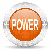power orange icon, christmas button