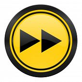 rewind icon, yellow logo,
