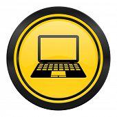 computer icon, yellow logo, pc sign