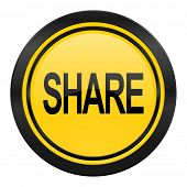 share icon, yellow logo,