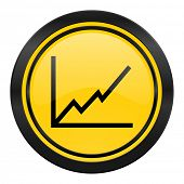 chart icon, yellow logo, stock sign
