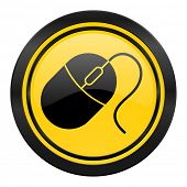 computer mouse icon, yellow logo,