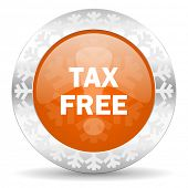 tax free orange icon, christmas button