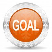 goal orange icon, christmas button
