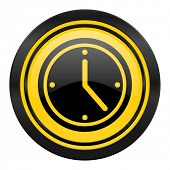 time icon, yellow logo, watch sign
