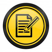 subscribe icon, yellow logo, write sign