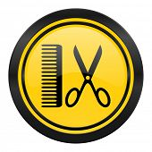 barber icon, yellow logo,