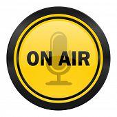 on air icon, yellow logo,