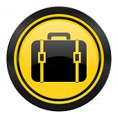 bag icon, yellow logo, luggage sign