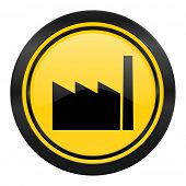 factory icon, yellow logo, industry sign, manufacture symbol